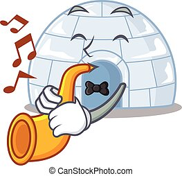 cartoon character style of igloo performance with trumpet. Vector illustration