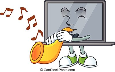 cartoon character style of monitor playing a trumpet