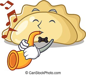 cartoon character style of pierogi performance with trumpet. Vector illustration