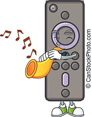 cartoon character style of remote control TV playing a trumpet