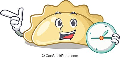 cartoon character style pierogi with having clock. Vector illustration