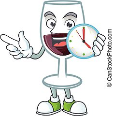 cartoon character style red glass of wine having clock