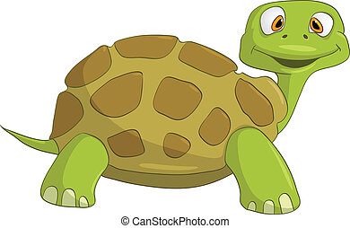 Cartoon Character Turtle Isolated on White Background. ...