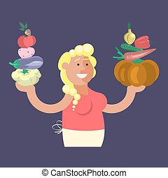 Cartoon character vegetables seller
