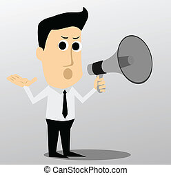 Cartoon character with a megaphone
