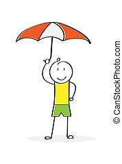 Cartoon character with an umbrella. Simple design.