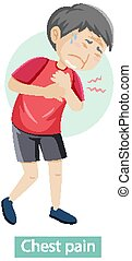 Cartoon character with chest pain symptoms illustration