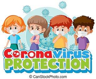 Cartoon character with coronavirus protection
