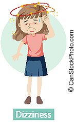 Cartoon character with dizziness symptoms