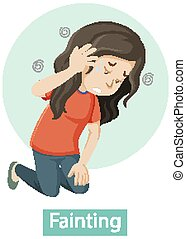 Cartoon character with fainting symptoms