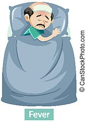 Cartoon character with fever symptoms