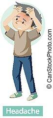 Cartoon character with headache symptoms