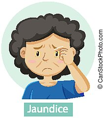 Cartoon character with jaundice symptoms