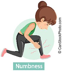Cartoon character with numbness symptoms