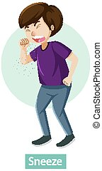 Cartoon character with sneeze symptoms illustration