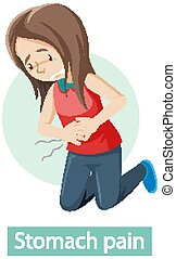 Cartoon character with stomach pain symptoms