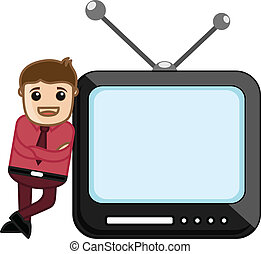 Cartoon Character with TV - Vector
