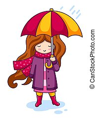 Cartoon character with umbrella.