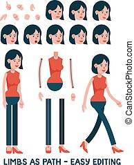 Cartoon character woman in pants