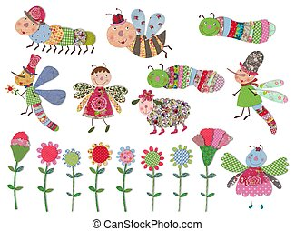 Cartoon characters and flowers set