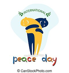 Cartoon Characters Embrace International Peace Holiday Poster