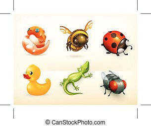 cartoon characters icons - Set with cartoon characters,...
