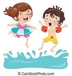 Cartoon Characters Jumping Into Water