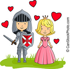 Cartoon characters knight and princess in love
