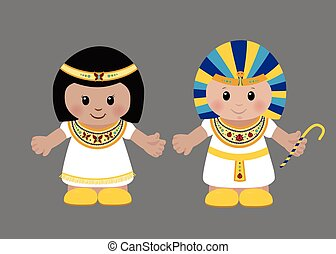 Pharaoh and Cleopatra in ancient Egyptian clothing.