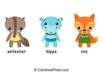 Cartoon characters or set of animals. Hippo or hippopotamus,...