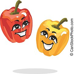 Cartoon characters red and yellow paprika loughing - Cartoon...