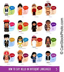 Boy and girl greeting in indonesian language illustration cartoon characters saying hello in different languages m4hsunfo
