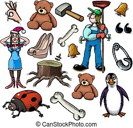 Cartoon characters seamless pattern
