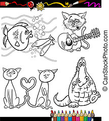 cartoon characters set for coloring book