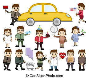 Cartoon Characters Various Concepts Set