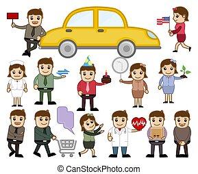 Cartoon Characters Various Concepts Set