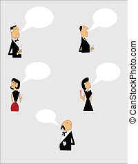 people in formal attire with drinks and chat bubbles with copy space for seasonal events