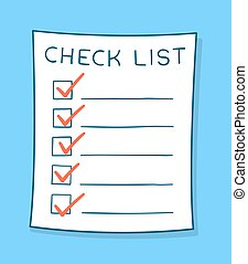 Cartoon checklist with red check marks