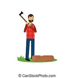 Cartoon cheerful bearded lumberjack man standing with axe in hands, log lying on green grass