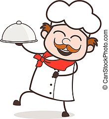 Cartoon Cheerful Chef Holding Dishes Vector Illustration