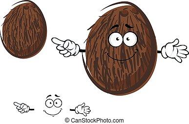 Cartoon cheerful coconut fruit character
