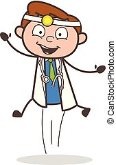 Cartoon Cheerful Doctor Jumping in Excitement Vector Illustration