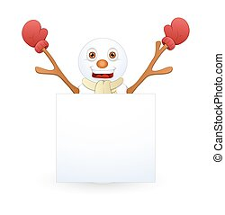 Cheerful Snowman with Blank Banner