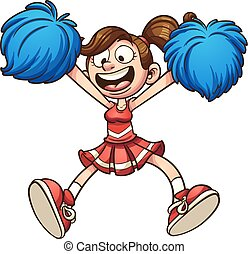 Cartoon cheerleader - Happy cartoon cheerleader. Vector clip...