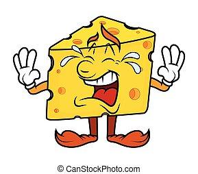 Cartoon Cheese Crying Vector