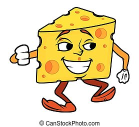 Cartoon Cheese Dancing Vector