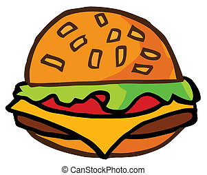 Cartoon Cheeseburger - Illustration Fast Food Hamburger