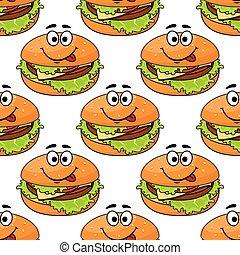 Cartoon cheeseburger seamless pattern
