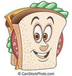 Cartoon Cheesy and Salami Sandwich - Sandwich. Happy Fast ...