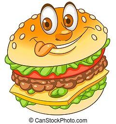 Cartoon cheesy burger